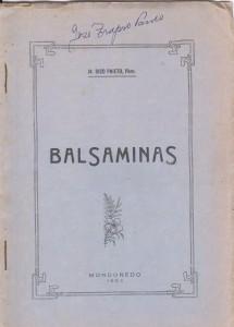 Balsaminas. Portada do exemplar agasallo do autor a J. Trapero Pardo (reducida)