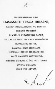04 Felicitación de A. Cunqueiro a M. Frga Iribarne Imp.Suc. de Mancebo