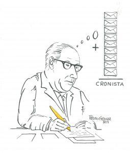 Álvaro Cunqueiro (debuxo de J. Pedro Gómez)